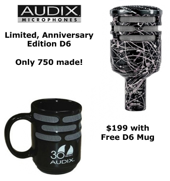 Audix D6A Special Anniversary Mic with Free mug!